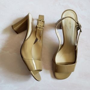 Kate Spade Italy Tan Nude Patent leather heels 9